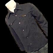 Vintage 1970's Lee Mens Western Polyester Leisure Suit Jacket M Navy Blu