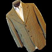 Vintage Pytchley Phillips & Piper Ltd England Mens Brown Plaid Tweed Blazer
