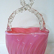 SALE Late 1800s Stevens & Williams Pink Opalescent Glass Basket, Thorned Handle
