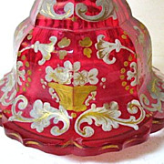 SALE Large 1830-50 Cranberry Glass Bohemian Perfume, Biedermeier Period