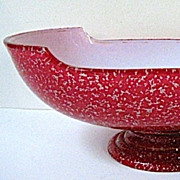 SALE Late 1800s Harrach Cased Cranberry Spangle Glass Center/Banana Bowl