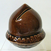 SALE Super Condition Acorn Pottery Bank, early 1900s