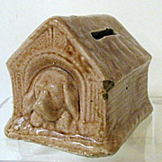 SALE Charming early 1900s Pottery Bank - Doghouse with Sleeping Puppy
