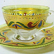 SALE Late 1800s Josephinenhutte Citron to Clear Glass Cup and Saucer