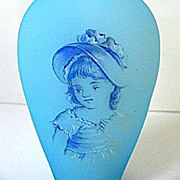 SALE Late 1800s Bohemian Blue Satin Glass Portrait Perfume w/Faceted Stopper