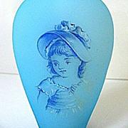 SALE Late 1800s Bohemian Blue Satin Glass Portrait Perfume w/Faceted Stopper