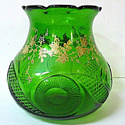 SALE Mid 1800s Moser Green Glass Vase, Hand Cut & Enameled