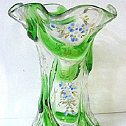SALE Late 1800s Moser Glass Vase w/Enameling and Green Glass Marquetry