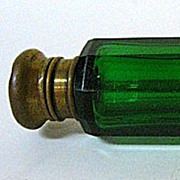 SALE Late 1800s English Green Glass Double Lay-Down Perfume