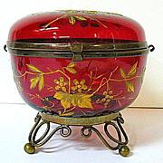 SALE Late 1800s Moser Deep Red Glass Dresser Box with Brass Ormolu Feet