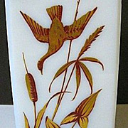SALE 1850s-70s Rectangular White Glass Vase w/Enameled Gold Gilt Flying Ducks & Foliage