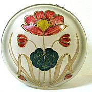 SALE Large 1890s Harrach Satin Glass Dresser Box with Art Nouveau Enameled Poppy Pattern