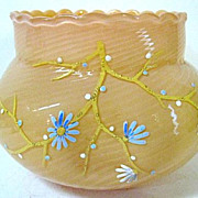 SALE 1880s Stevens & Williams Burmese Glass Bowl, Spiral Pattern, Scalloped Rim