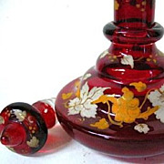 SALE 1830-50 Ruby Red Glass Bohemian Biedermeier Period Perfume, Grape Leaves Decor