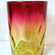 SALE Late 1800s Mt. Washington Rose Amber (Amberina) Tumbler