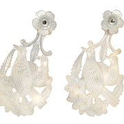 SOLD Love Birds - Mother of Pearl Earrings