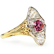 SALE Antique Pink Spinel Diamond Ring