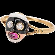 Rare 18th C. Diamond & Ruby Carnival Masque Ring