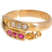 Variation: Antique Diamond Ruby Crossover Ring