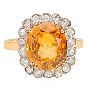 Good Day Sunshine - Orange Sapphire Diamond Ring