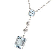 Aquamarine  Diamond Necklace
