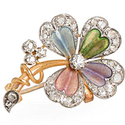 True Elegance: Diamond Flower Brooch Pendant