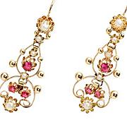 French Earrings of Rubies & Pearls