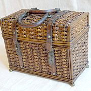 Antique French Basket Purse Handbag with Braiding & Leather Trim