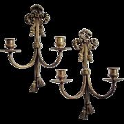 SALE Vintage Brass Sconces, Bow & Tassel