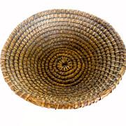 Antique Round, Coiled, Rye & Straw Basket