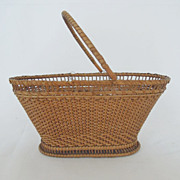 SALE Fine Antique Chinese Export Rice Straw Miniature Basket Purse