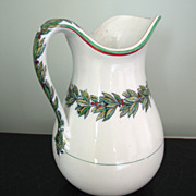 SALE Antique English White Ironstone Jug with Leaf & Berry Garland, Pitcher, Christmas