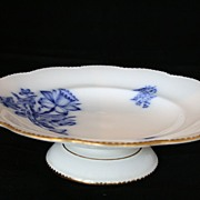 SALE White Davenport Footed Plate wth Blue Floral Transferware, Footed Bowl, Staffordshire