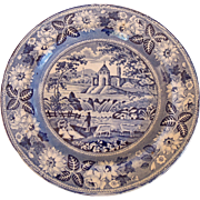 SALE 19th Century Blue & White Staffordshire Plate, Pastoral Scene