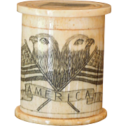 SALE Vintage Small Ivory Resin Cylinder Box, American Flag