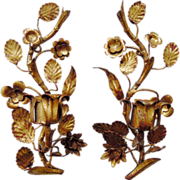 SALE Pair of Vintage Tole Gilt Italian Sconces with Flowers