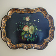 SALE Antique English Paper Mache Tray with Hand Painted Flowers