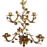 SALE Vintage Italian Tole Sconce with Flowers, Gilt