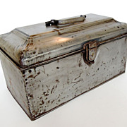 Antique Industrial Metal Bank Box