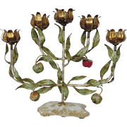 SALE Vintage Italian Tole Espaliered Apple Tree Candelabra