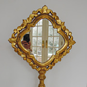SALE Vintage Unusual Gilt Mirror on Stand with Quatrafoil Form, 1930's