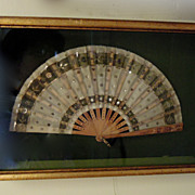 SALE Beautiful Antique Fan in a Gold Boxed Frame