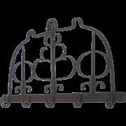 Antique Hand Forged Iron Meat Rack or Pot Rack, Coat Hook, Mug Holder