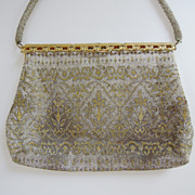 SALE Beautiful Antique French Silver and Gold Beaded Purse, Evening Bag, Handbag