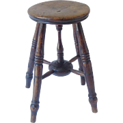SALE Antique English Elm Stool, Side Table