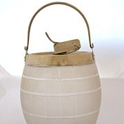 Antique English Glass & Silver Plated Biscuit Barrel