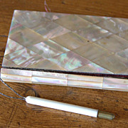 """SALE 19th Century Mother of Pearl French """"Berck Su Mere"""" Souvenir Calling Card Case"""