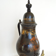 SALE Beautiful Antique Pewter Chinoiserie Coffee Urn