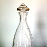 SALE Art Deco English Glass Decanter with Decorative Knob & Ship Engraving