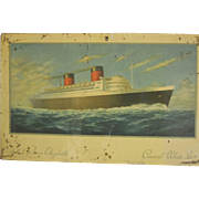 Rare Vintage Cunard Line Advertising Sign, Ca. 1940, R.M.S. Queen Elizabeth